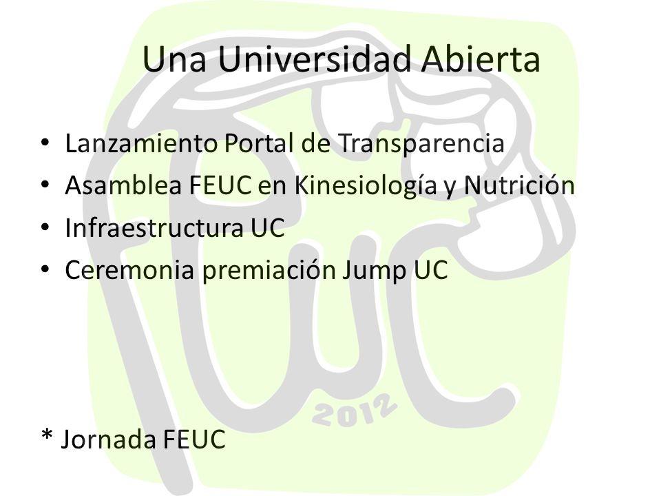 Una Universidad Abierta Lanzamiento Portal de Transparencia Asamblea FEUC en Kinesiología y Nutrición Infraestructura UC Ceremonia premiación Jump UC * Jornada FEUC