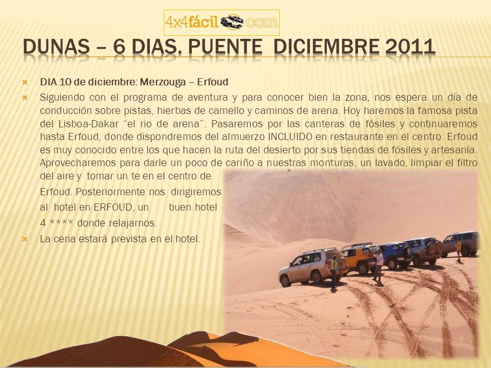 DIA 10 de diciembre: Merzouga – Erfoud Siguiendo con el programa de aventura y para conocer bien la zona, nos espera un día de conducción sobre pistas