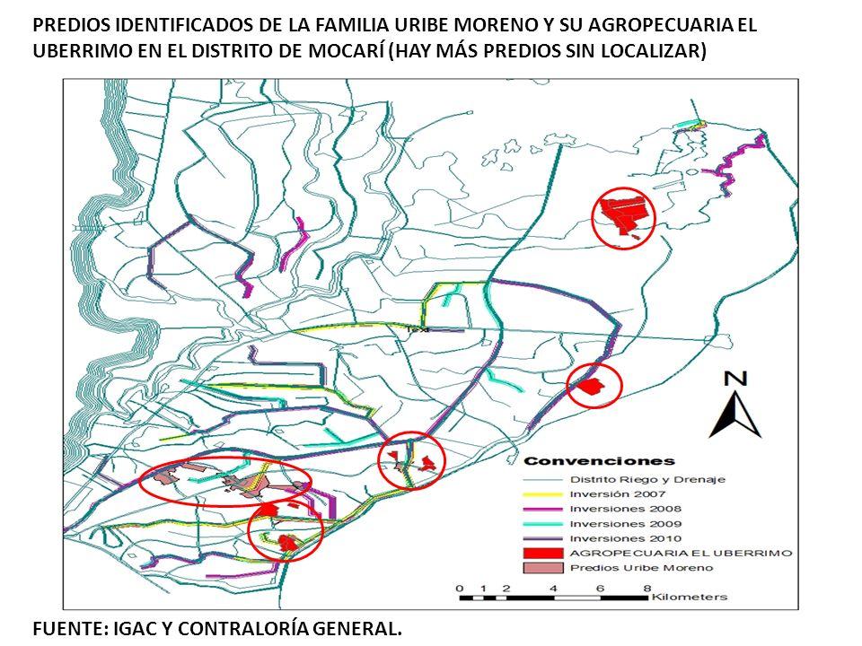 PREDIOS IDENTIFICADOS DE LA FAMILIA URIBE MORENO Y SU AGROPECUARIA EL UBERRIMO EN EL DISTRITO DE MOCARÍ (HAY MÁS PREDIOS SIN LOCALIZAR) FUENTE: IGAC Y