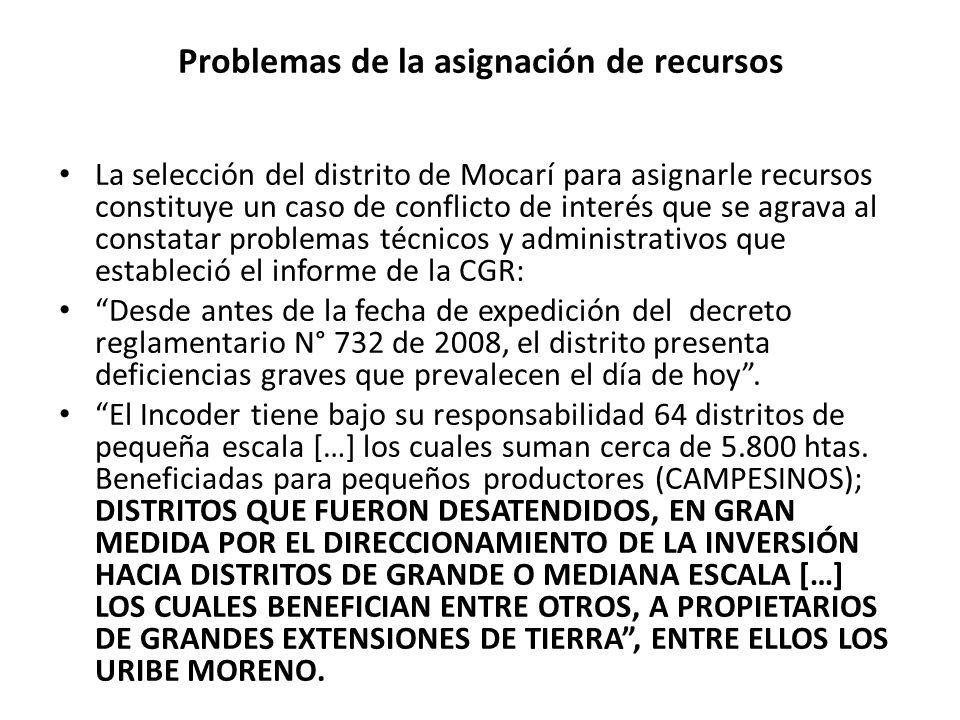 Problemas de la asignación de recursos La selección del distrito de Mocarí para asignarle recursos constituye un caso de conflicto de interés que se a