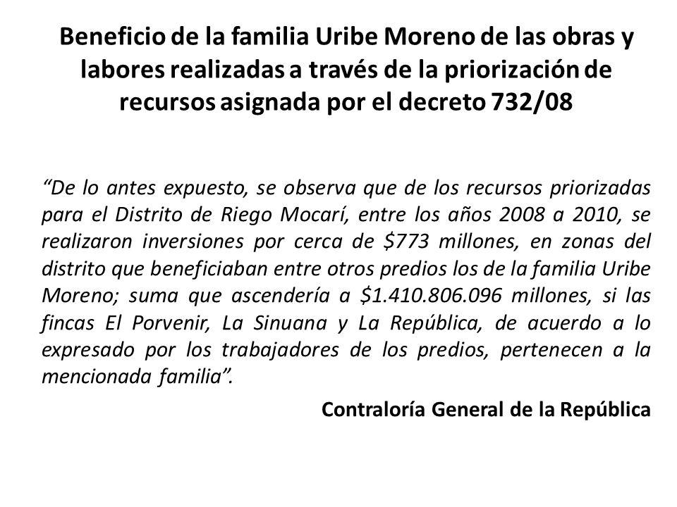 Beneficio de la familia Uribe Moreno de las obras y labores realizadas a través de la priorización de recursos asignada por el decreto 732/08 De lo an