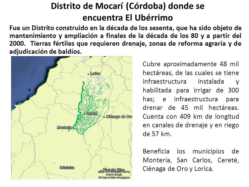 Distrito de Mocarí (Córdoba) donde se encuentra El Ubérrimo Fue un Distrito construido en la década de los sesenta, que ha sido objeto de mantenimient