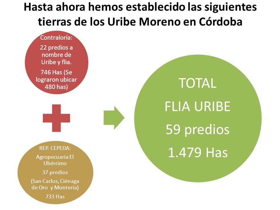 Hasta ahora hemos establecido las siguientes tierras de los Uribe Moreno en Córdoba Contraloría: 22 predios a nombre de Uribe y flia. 746 Has (Se logr