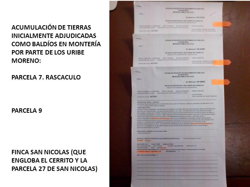 ACUMULACIÓN DE TIERRAS INICIALMENTE ADJUDICADAS COMO BALDÍOS EN MONTERÍA POR PARTE DE LOS URIBE MORENO: PARCELA 7. RASCACULO PARCELA 9 FINCA SAN NICOL