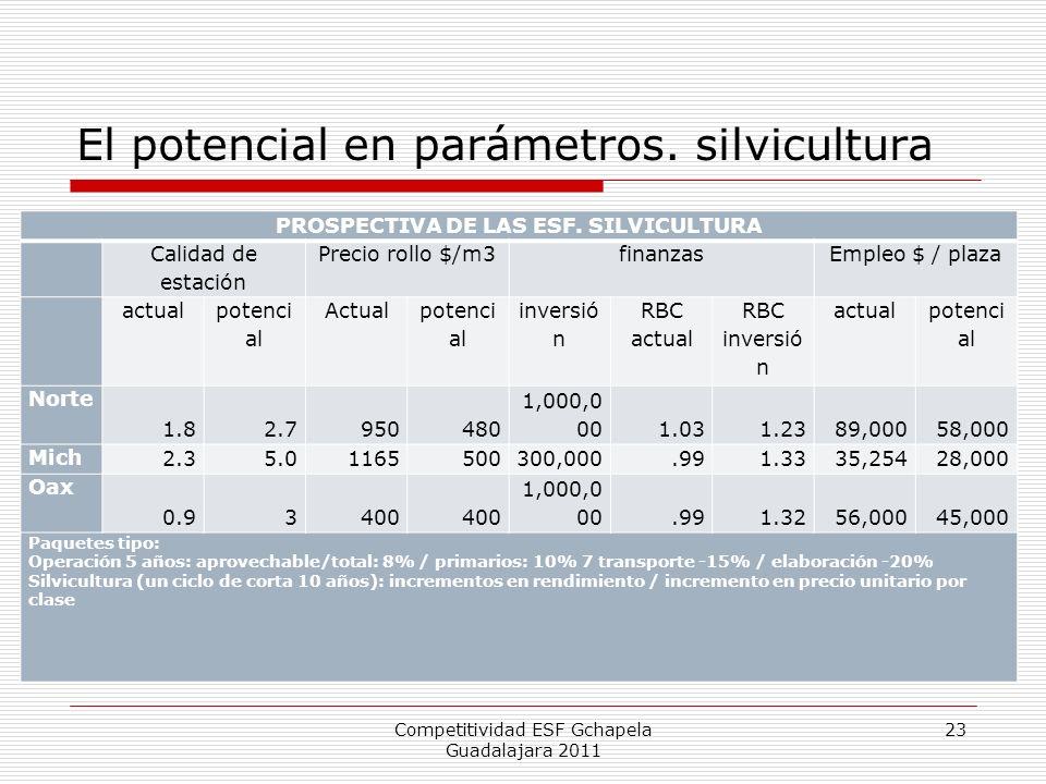 El potencial en parámetros. silvicultura Competitividad ESF Gchapela Guadalajara 2011 23 PROSPECTIVA DE LAS ESF. SILVICULTURA Calidad de estación Prec