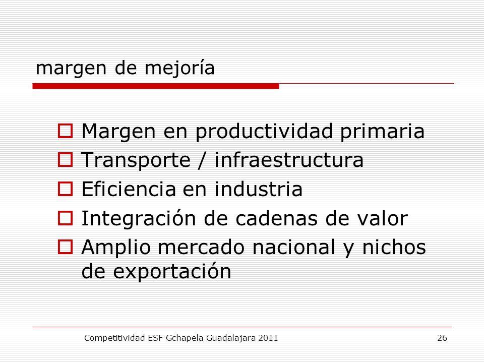 margen de mejoría Margen en productividad primaria Transporte / infraestructura Eficiencia en industria Integración de cadenas de valor Amplio mercado