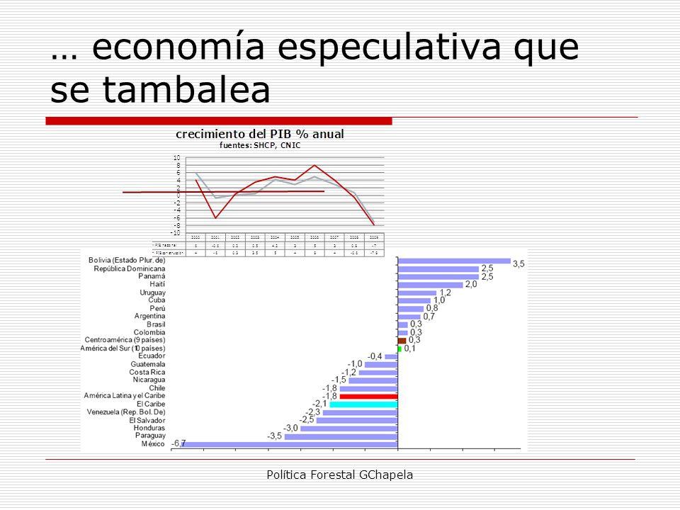 … economía especulativa que se tambalea Política Forestal GChapela
