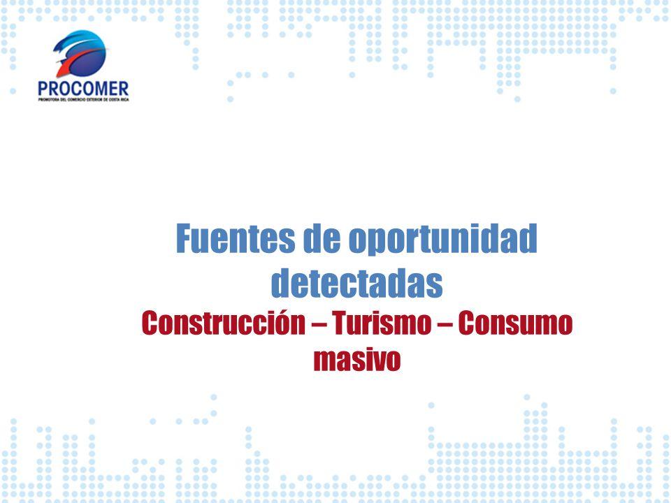 Fuentes de oportunidad detectadas Construcción – Turismo – Consumo masivo