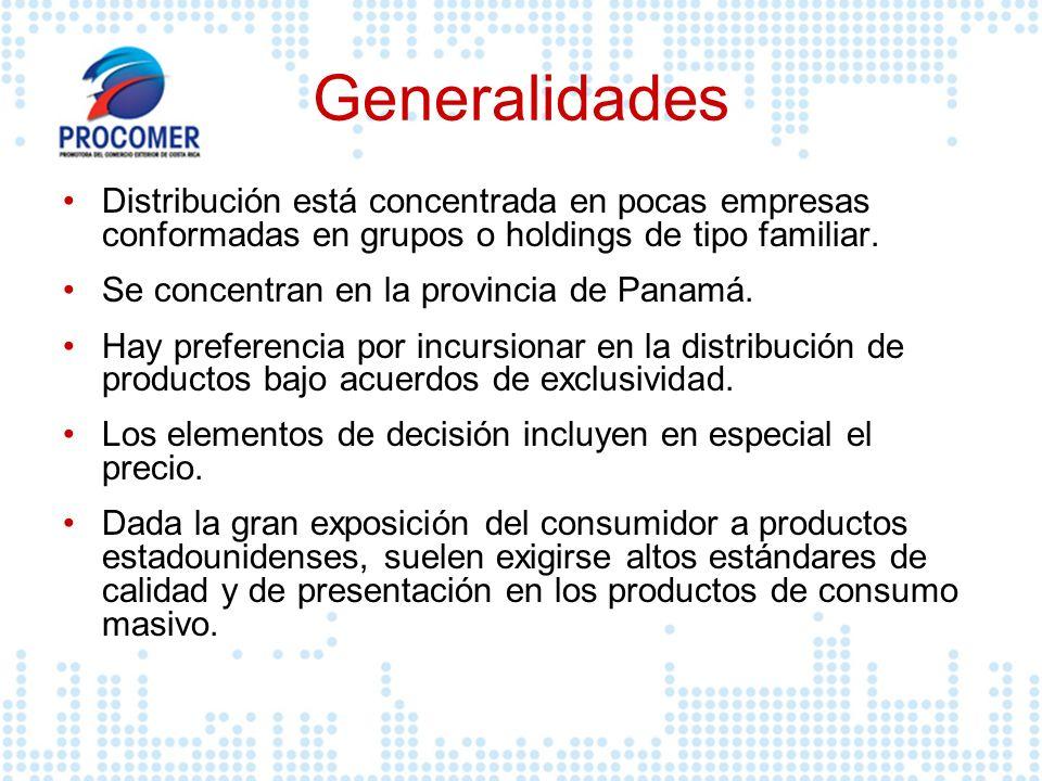 Generalidades Distribución está concentrada en pocas empresas conformadas en grupos o holdings de tipo familiar. Se concentran en la provincia de Pana