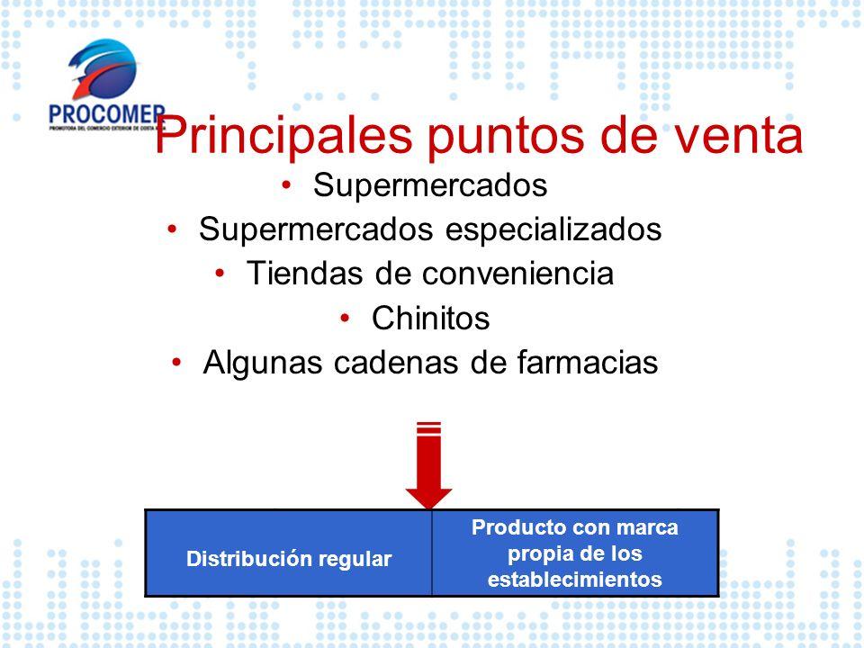 Principales puntos de venta Supermercados Supermercados especializados Tiendas de conveniencia Chinitos Algunas cadenas de farmacias Distribución regu