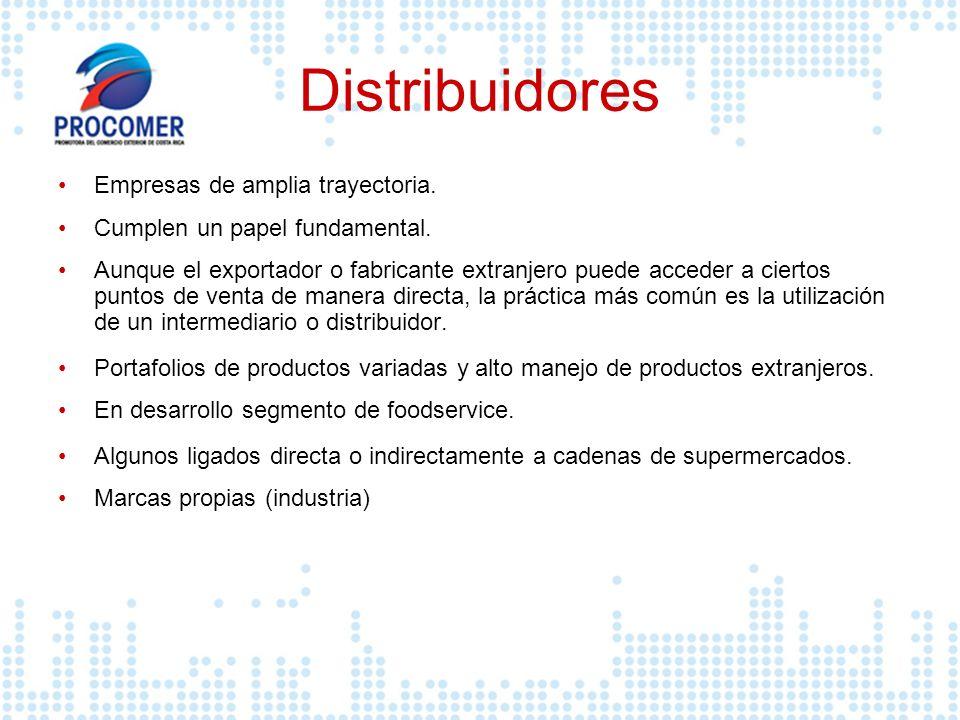 Distribuidores Empresas de amplia trayectoria. Cumplen un papel fundamental. Aunque el exportador o fabricante extranjero puede acceder a ciertos punt