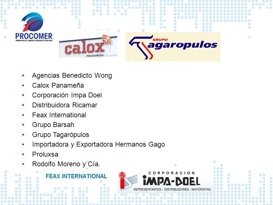 Agencias Benedicto Wong Calox Panameña Corporación Impa Doel Distribuidora Ricamar Feax International Grupo Barsah Grupo Tagarópulos Importadora y Exp