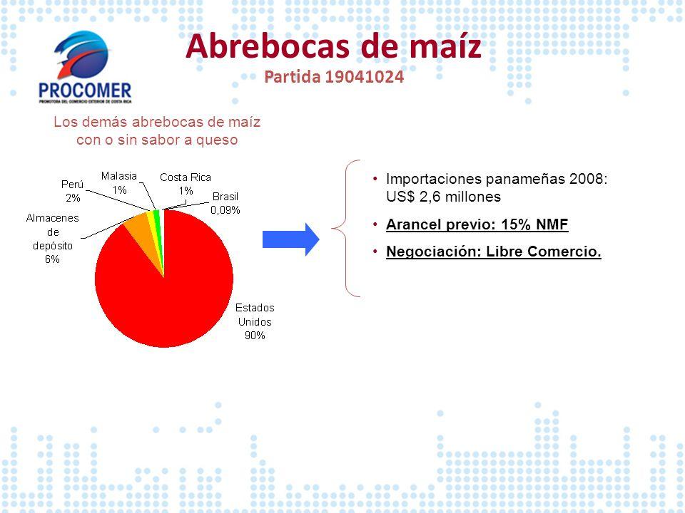 Abrebocas de maíz Partida 19041024 Los demás abrebocas de maíz con o sin sabor a queso Importaciones panameñas 2008: US$ 2,6 millones Arancel previo: