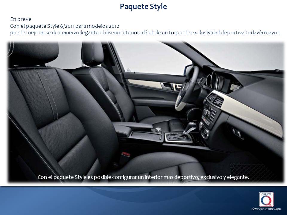 Paquete Style En breve Con el paquete Style 6/2011 para modelos 2012 puede mejorarse de manera elegante el diseño interior, dándole un toque de exclusividad deportiva todavía mayor.