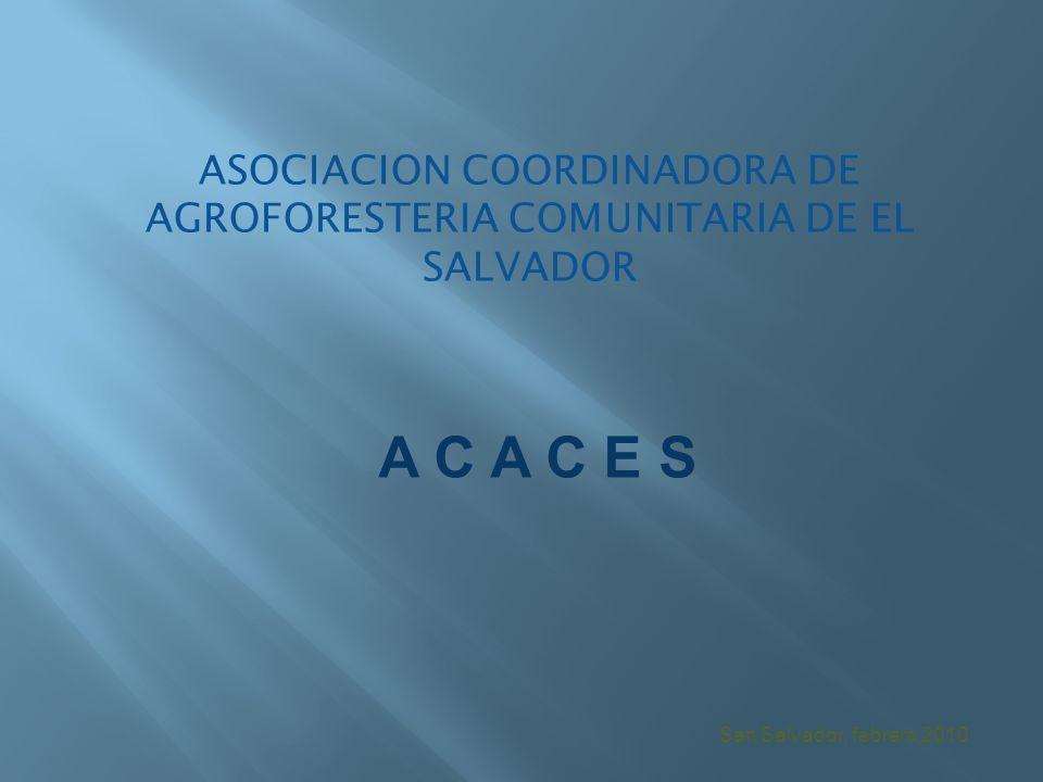 San Salvador, febrero 2010 ASOCIACION COORDINADORA DE AGROFORESTERIA COMUNITARIA DE EL SALVADOR A C A C E S