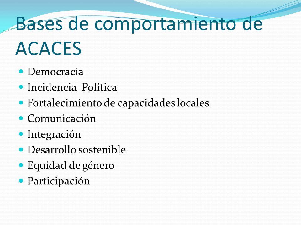 Bases de comportamiento de ACACES Democracia Incidencia Política Fortalecimiento de capacidades locales Comunicación Integración Desarrollo sostenible