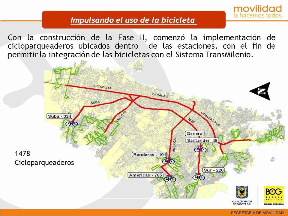 Con la construcción de la Fase II, comenzó la implementación de cicloparqueaderos ubicados dentro de las estaciones, con el fin de permitir la integra