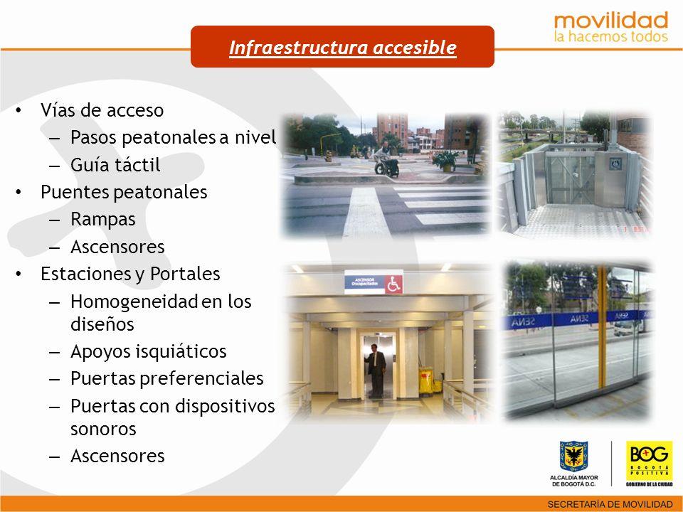 Vías de acceso – Pasos peatonales a nivel – Guía táctil Puentes peatonales – Rampas – Ascensores Estaciones y Portales – Homogeneidad en los diseños –