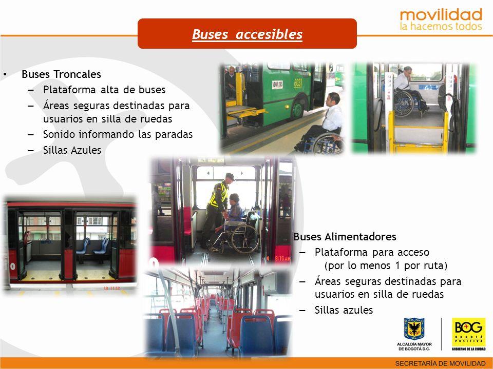 Buses Troncales – Plataforma alta de buses – Áreas seguras destinadas para usuarios en silla de ruedas – Sonido informando las paradas – Sillas Azules
