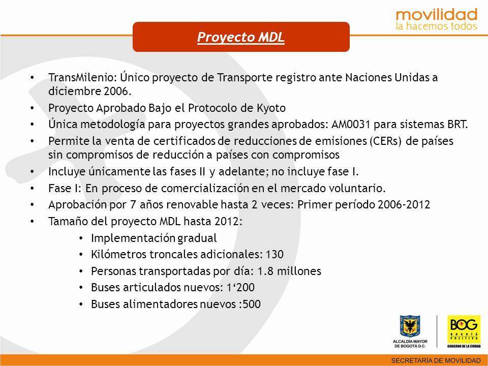 TransMilenio: Único proyecto de Transporte registro ante Naciones Unidas a diciembre 2006. Proyecto Aprobado Bajo el Protocolo de Kyoto Única metodolo