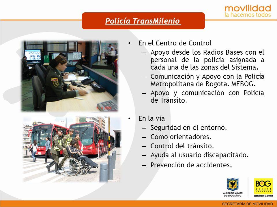 En el Centro de Control – Apoyo desde los Radios Bases con el personal de la policía asignada a cada una de las zonas del Sistema. – Comunicación y Ap