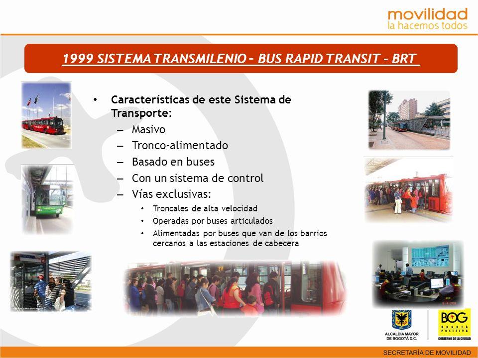 Características de este Sistema de Transporte: – Masivo – Tronco-alimentado – Basado en buses – Con un sistema de control – Vías exclusivas: Troncales
