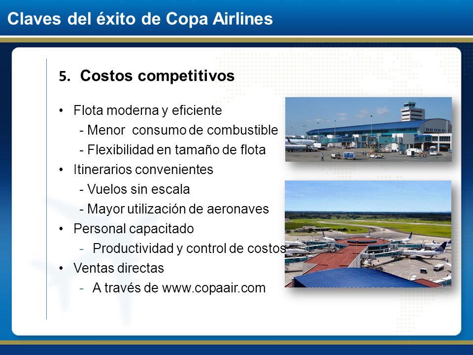 Claves del éxito de Copa Airlines 5. Costos competitivos Flota moderna y eficiente - Menor consumo de combustible - Flexibilidad en tamaño de flota It
