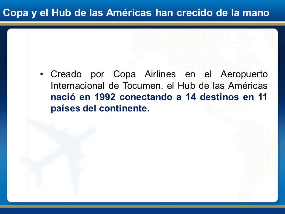 Copa y el Hub de las Américas han crecido de la mano Creado por Copa Airlines en el Aeropuerto Internacional de Tocumen, el Hub de las Américas nació