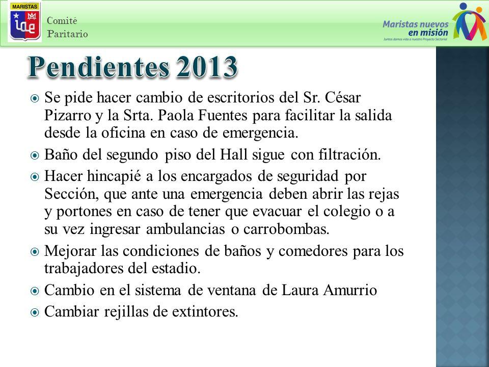 Se pide hacer cambio de escritorios del Sr. César Pizarro y la Srta.