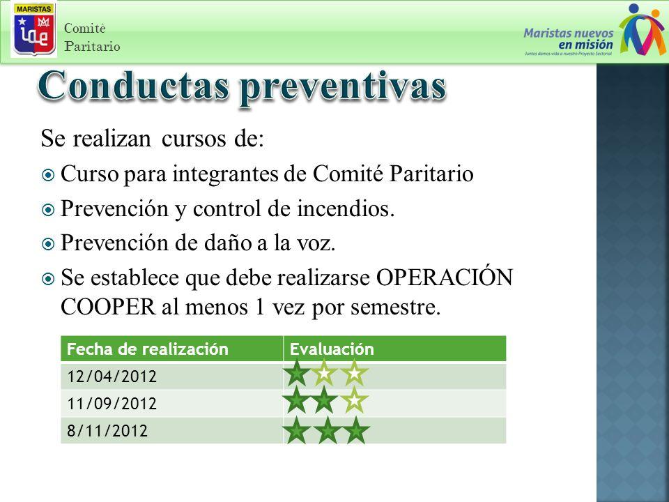 Se realizan cursos de: Curso para integrantes de Comité Paritario Prevención y control de incendios.