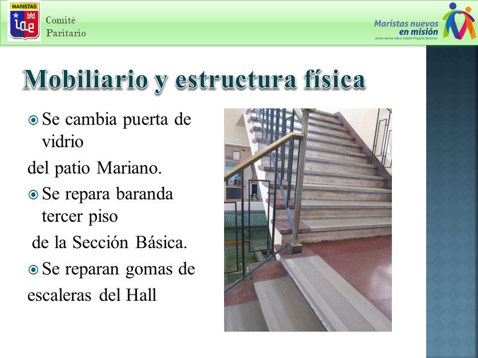 Comité Paritario Se cambia puerta de vidrio del patio Mariano.