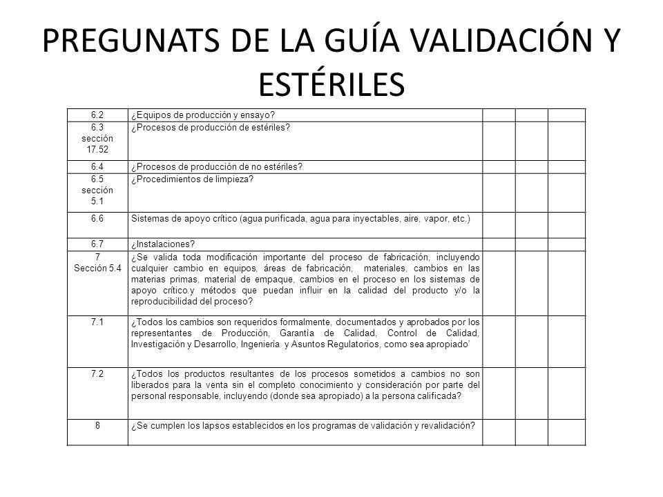 PREGUNATS DE LA GUÍA VALIDACIÓN Y ESTÉRILES 6.2¿Equipos de producción y ensayo? 6.3 sección 17.52 ¿Procesos de producción de estériles? 6.4¿Procesos d
