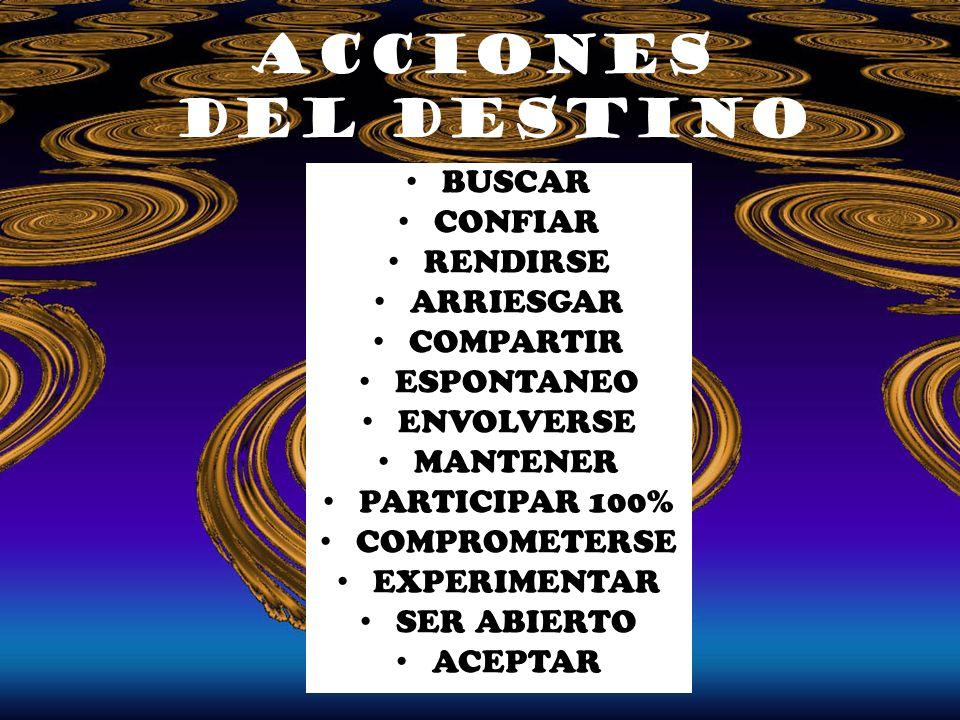 BUSCAR CONFIAR RENDIRSE ARRIESGAR COMPARTIR ESPONTANEO ENVOLVERSE MANTENER PARTICIPAR 100% COMPROMETERSE EXPERIMENTAR SER ABIERTO ACEPTAR acciones del