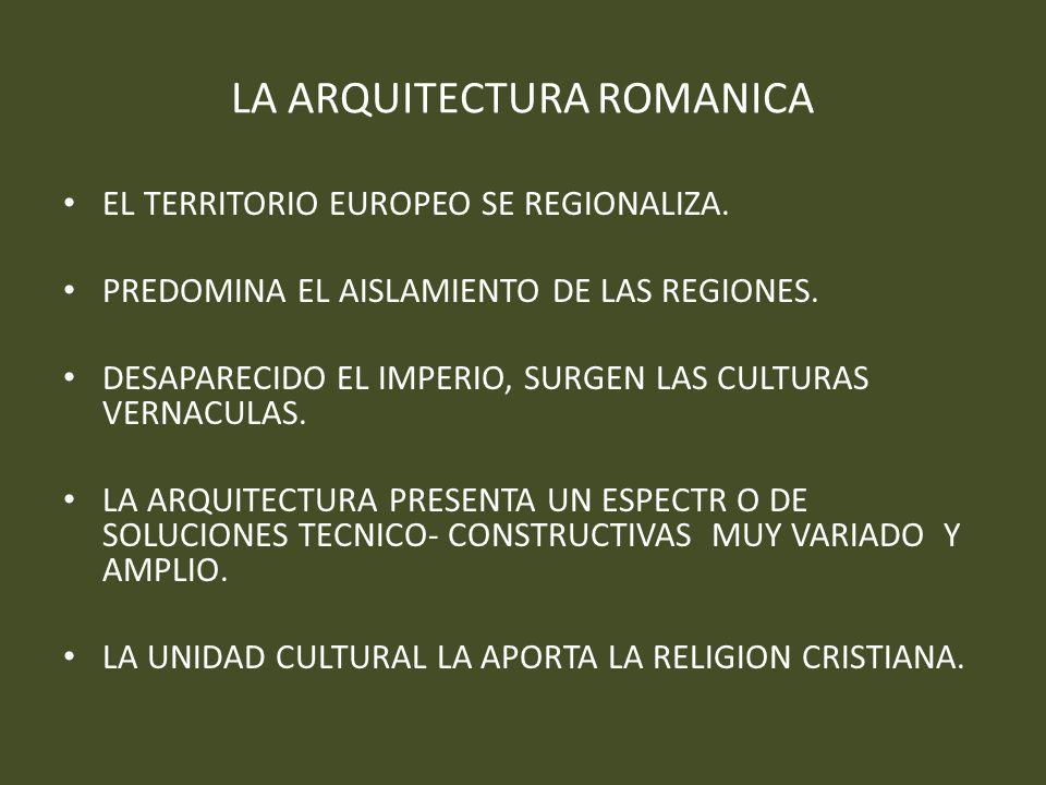 LA ARQUITECTURA ROMANICA EL TERRITORIO EUROPEO SE REGIONALIZA. PREDOMINA EL AISLAMIENTO DE LAS REGIONES. DESAPARECIDO EL IMPERIO, SURGEN LAS CULTURAS