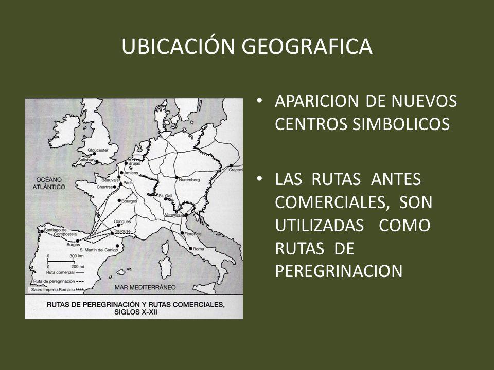 UBICACIÓN GEOGRAFICA APARICION DE NUEVOS CENTROS SIMBOLICOS LAS RUTAS ANTES COMERCIALES, SON UTILIZADAS COMO RUTAS DE PEREGRINACION