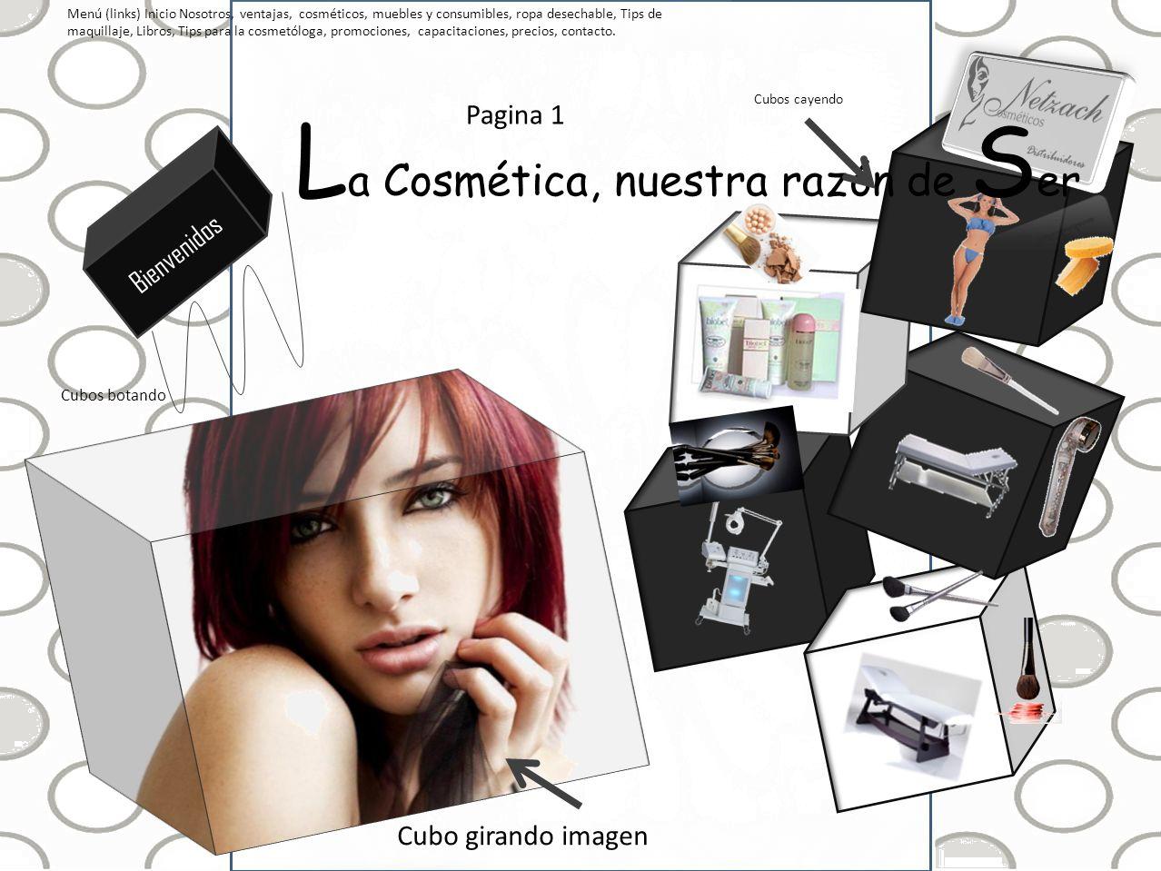 Menú (links) Inicio Nosotros, ventajas, cosméticos, muebles y consumibles, ropa desechable, Tips de maquillaje, Libros, Tips para la cosmetóloga, prom