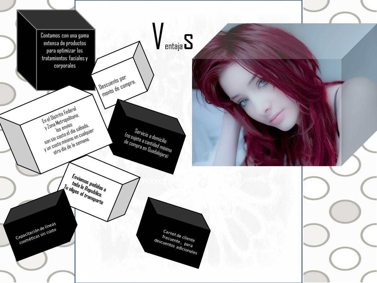 V entaja s Contamos con una gama extensa de productos para optimizar los tratamientos faciales y corporales Descuento por monto de compra. Servicio a
