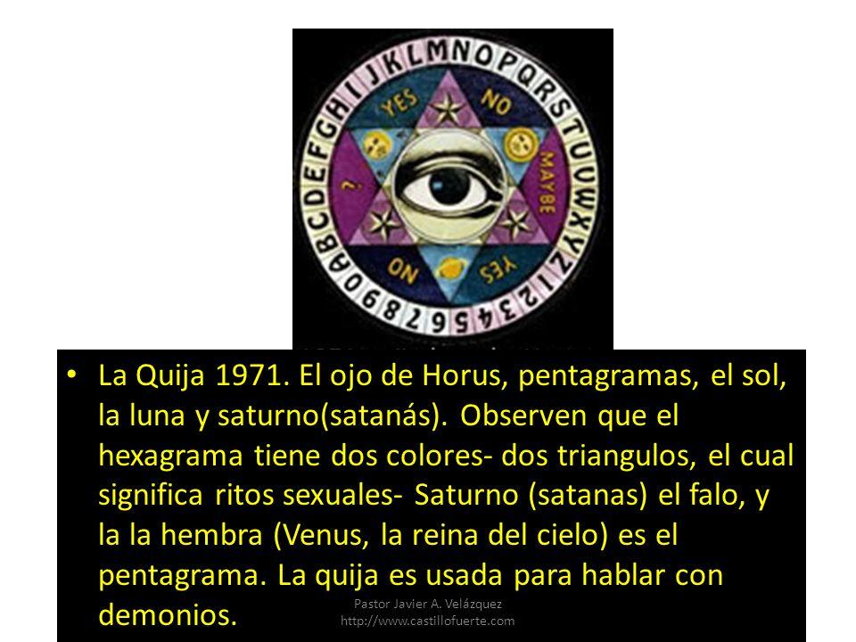 La Quija 1971. El ojo de Horus, pentagramas, el sol, la luna y saturno(satanás). Observen que el hexagrama tiene dos colores- dos triangulos, el cual