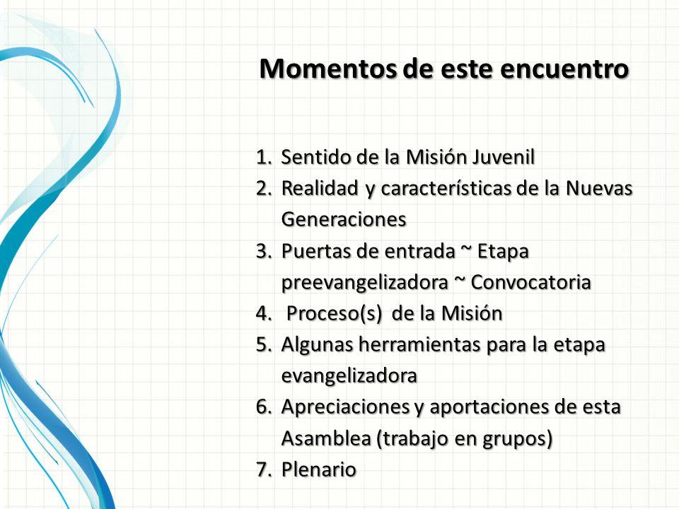 Momentos de este encuentro 1.Sentido de la Misión Juvenil 2.Realidad y características de la Nuevas Generaciones 3.Puertas de entrada ~ Etapa preevangelizadora ~ Convocatoria 4.