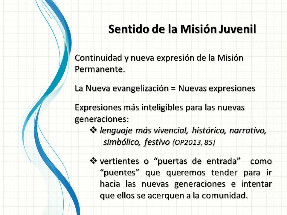Sentido de la Misión Juvenil Continuidad y nueva expresión de la Misión Permanente.