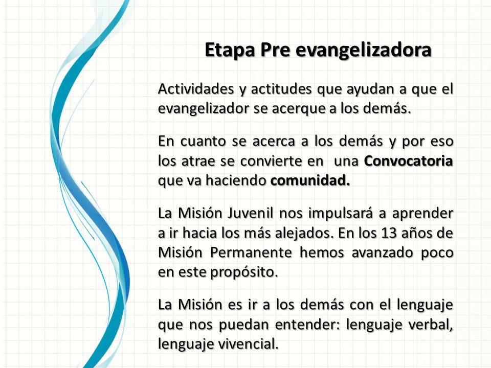 Etapa Pre evangelizadora Actividades y actitudes que ayudan a que el evangelizador se acerque a los demás.