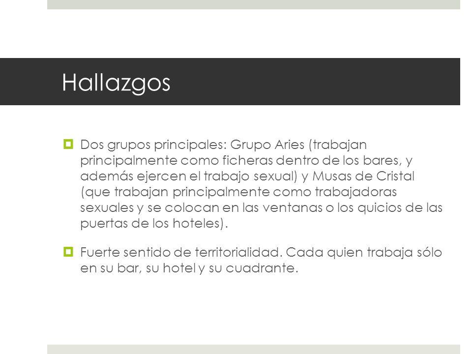 Hallazgos Dos grupos principales: Grupo Aries (trabajan principalmente como ficheras dentro de los bares, y además ejercen el trabajo sexual) y Musas