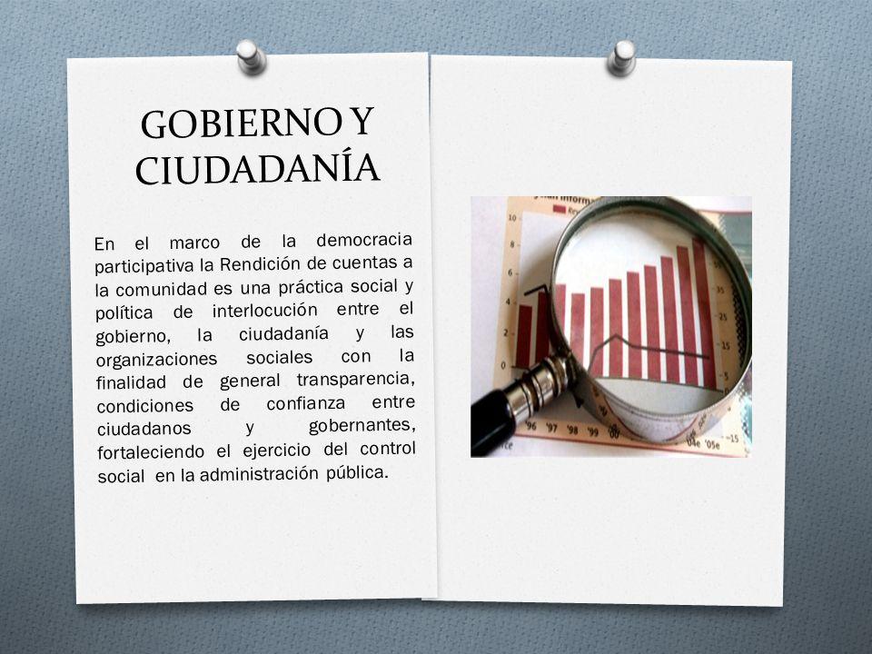 GOBIERNO Y CIUDADANÍA En el marco de la democracia participativa la Rendición de cuentas a la comunidad es una práctica social y política de interlocu