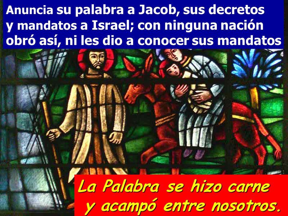 Anuncia su palabra a Jacob, sus decretos y mandatos a Israel; con ninguna nación obró así, ni les dio a conocer sus mandatos La Palabra se hizo carne