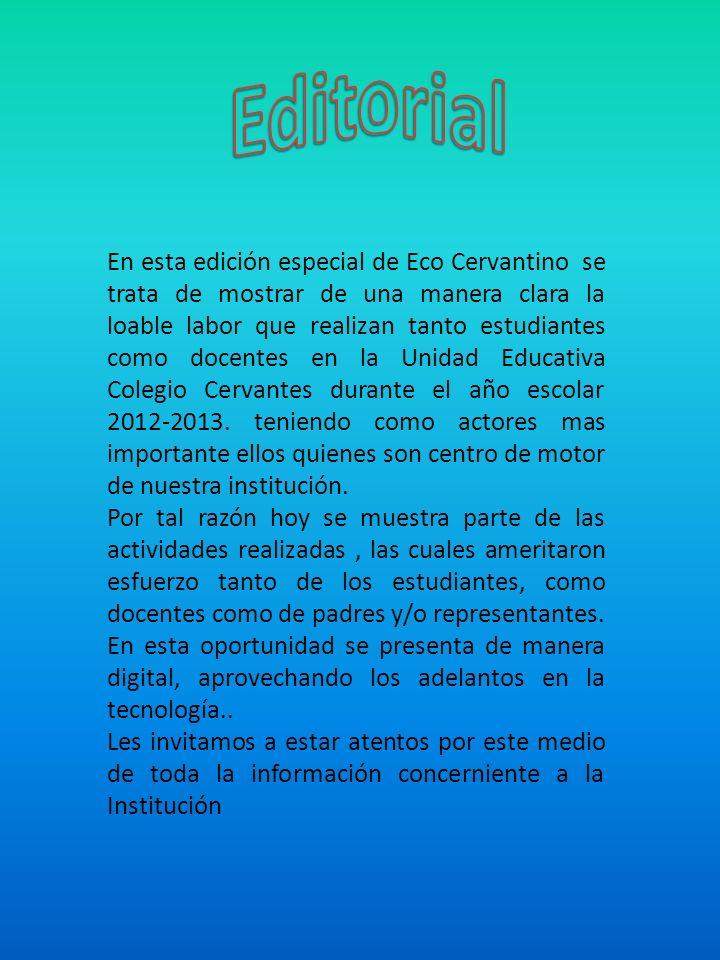 En esta edición especial de Eco Cervantino se trata de mostrar de una manera clara la loable labor que realizan tanto estudiantes como docentes en la