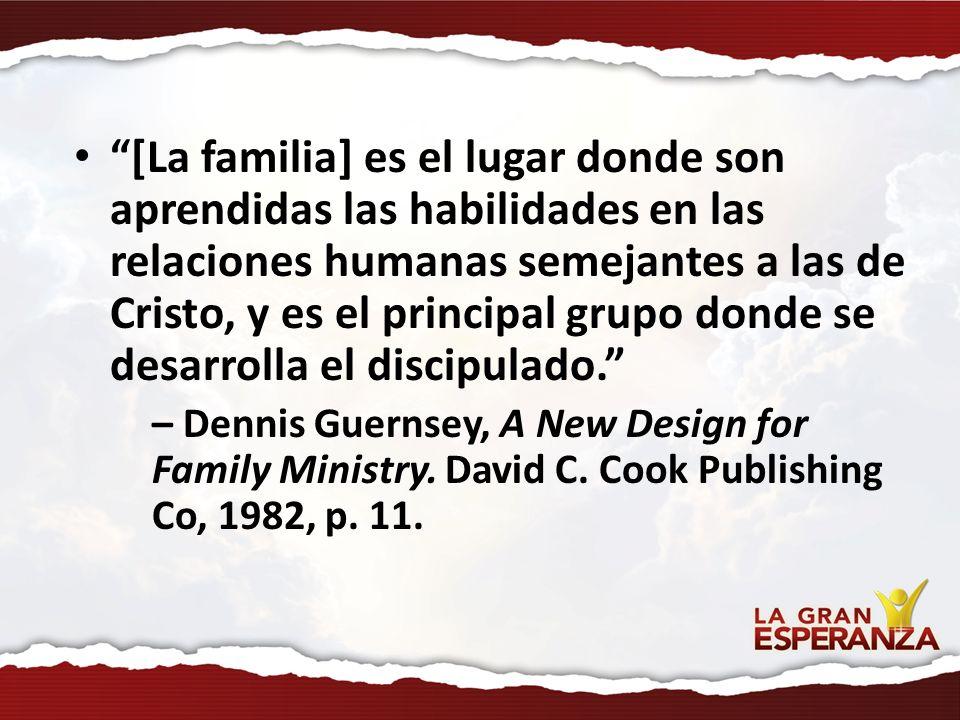 [La familia] es el lugar donde son aprendidas las habilidades en las relaciones humanas semejantes a las de Cristo, y es el principal grupo donde se d