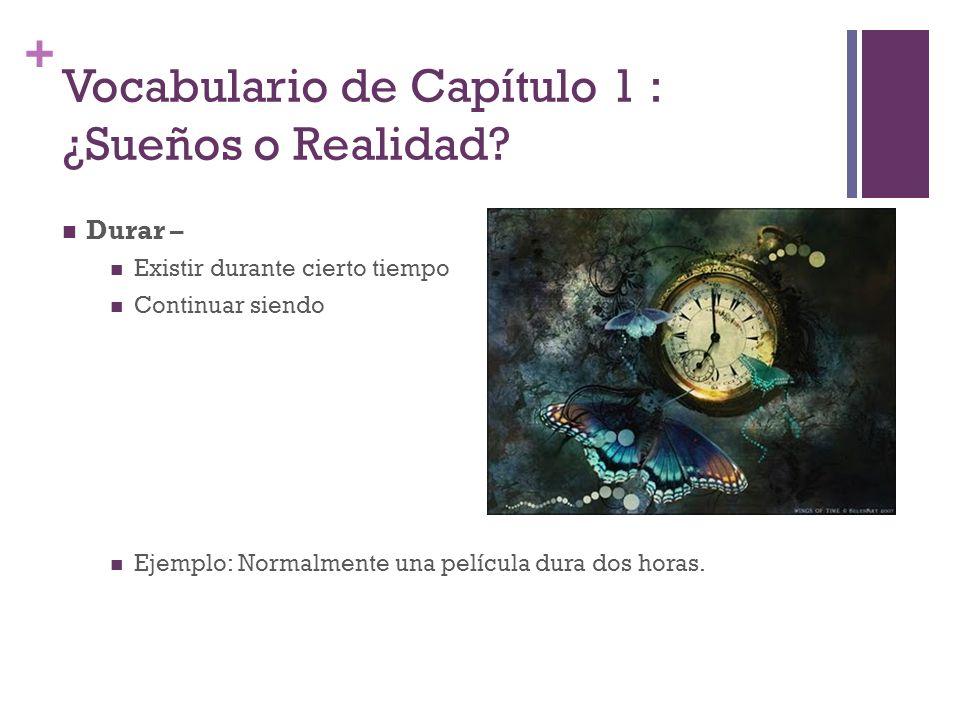 + Vocabulario de Capítulo 1 : ¿Sueños o Realidad.