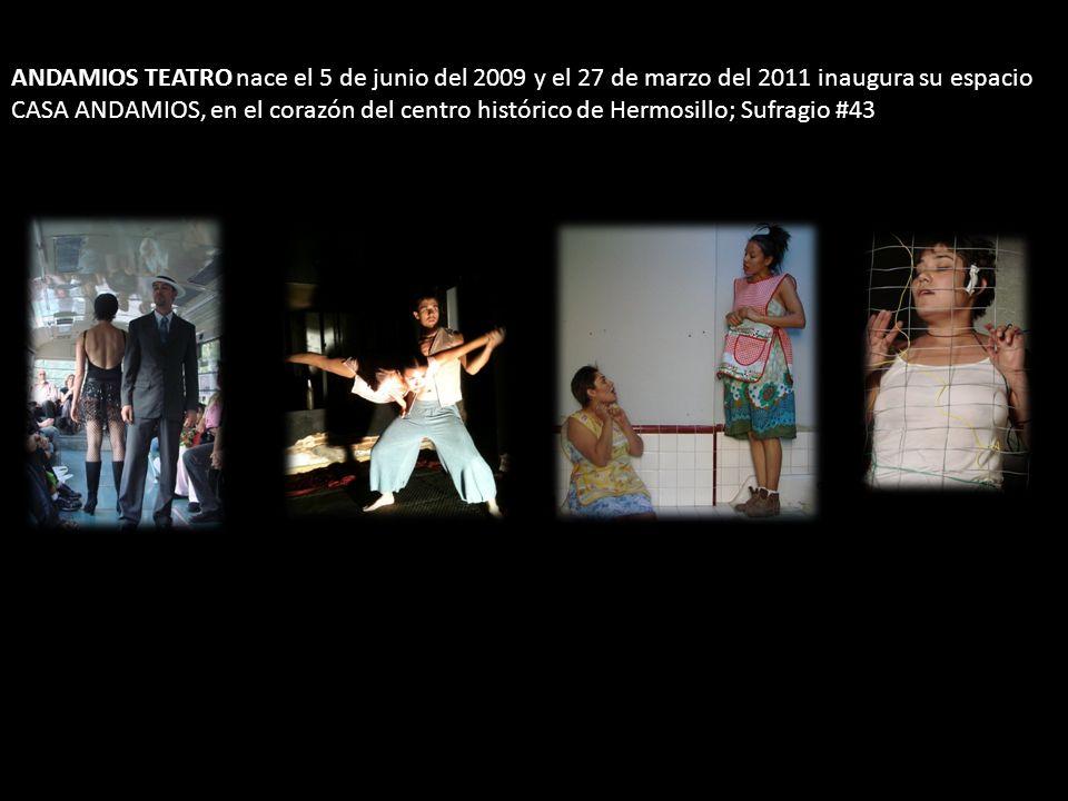 ANDAMIOS TEATRO nace el 5 de junio del 2009 y el 27 de marzo del 2011 inaugura su espacio CASA ANDAMIOS, en el corazón del centro histórico de Hermosi