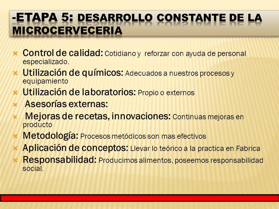 Control de calidad: Cotidiano y reforzar con ayuda de personal especializado.