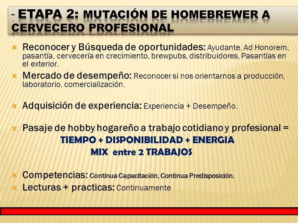 Reconocer y Búsqueda de oportunidades: Ayudante, Ad Honorem, pasantía, cervecería en crecimiento, brewpubs, distribuidores, Pasantías en el exterior.